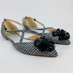 JCREW NWT LEATHER Sadie Cross-Strap Flats Plaid